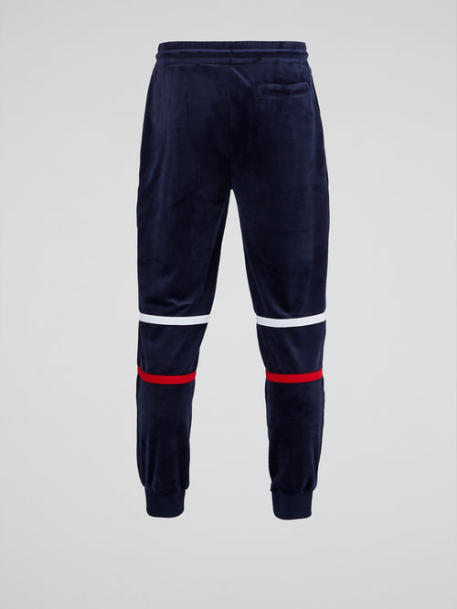 Navy Drawstring Velour Active Trousers