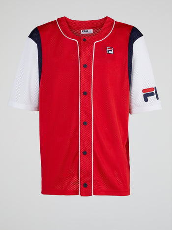 Red Half-Sleeve Baseball Jersey