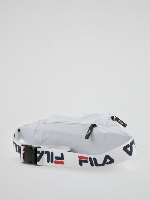 White Logo Strap Waist Bag