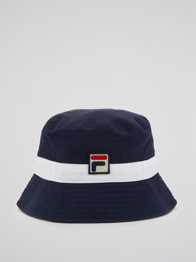 Navy Appliquéd Bucket Hat