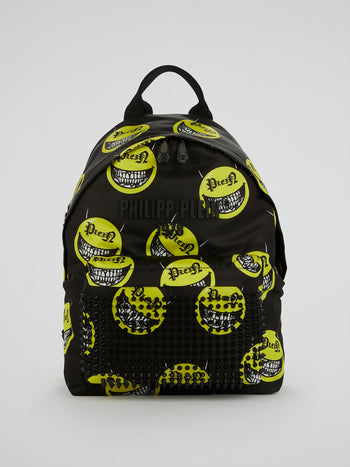 Black All-Over Print Studded Backpack