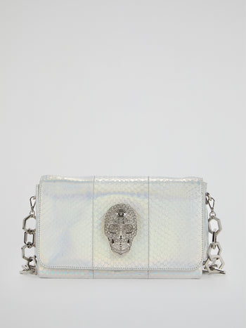 Silver Skull Detail Leather Clutch