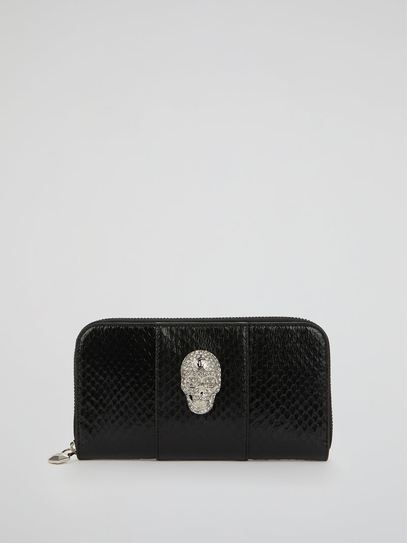 Black Skull Detail Continental Wallet