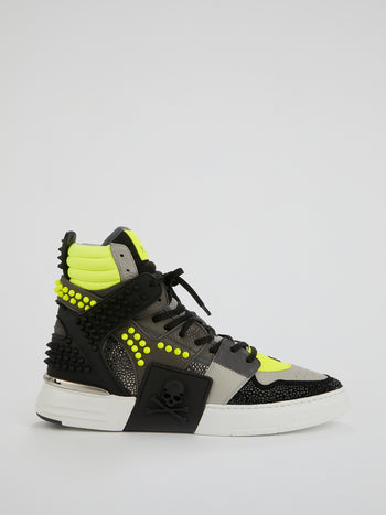 Phantom Kick$ Studded High-Top Sneakers