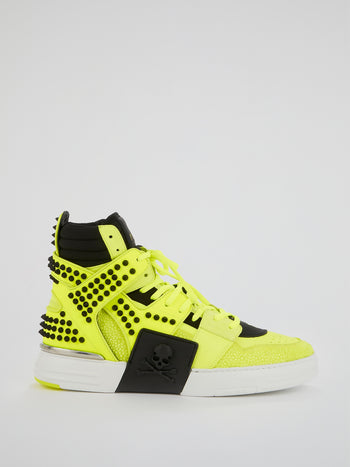 Phantom Kick$ Neon High-Top Sneakers