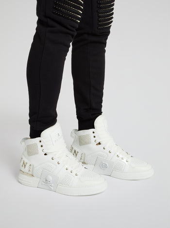 Phantom Kick$ White High-Top Sneakers