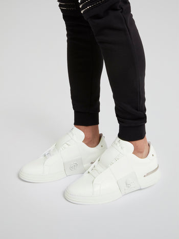Phantom Kick$ White Slip-On Sneakers