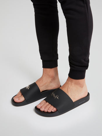 Black Signature Logo Sandals
