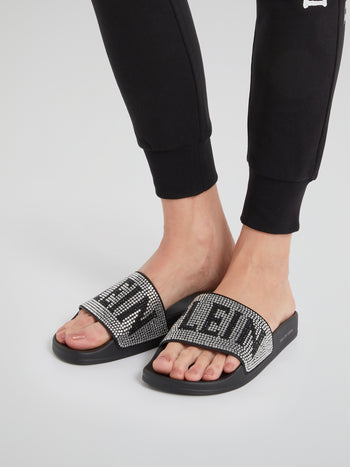 Crystal Plein Studded Slides