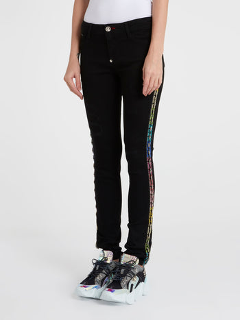 Black Crystal Detail Pants