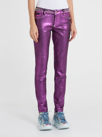 Purple Metallic Studded Pants