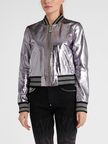 Metallic Embellished Leather Bomber Jacket