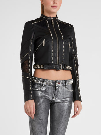 Black Studded Leather Moto Jacket