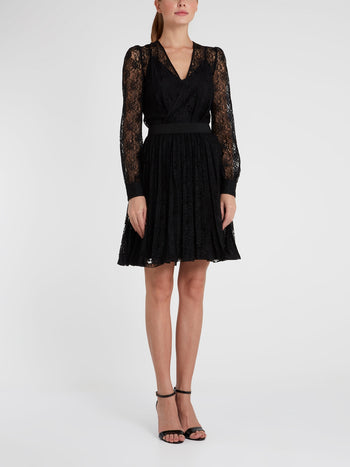 Black Surplice Lace Mini Dress