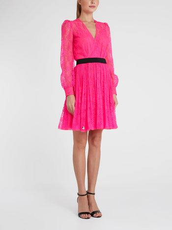Pink Surplice Lace Mini Dress