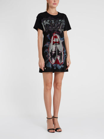 Rock Band Studded T-Shirt Dress