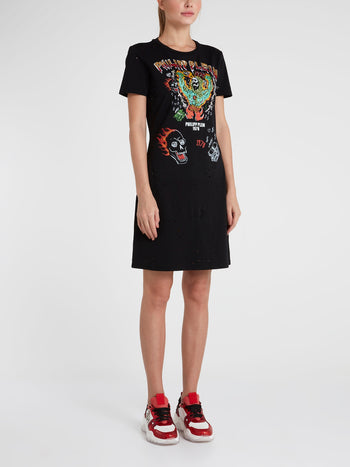 Black Distressed Graffiti T-Shirt Dress