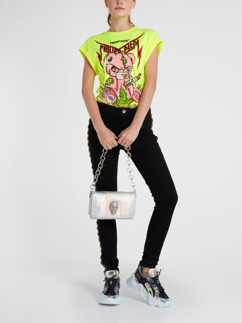 Teddy Bear Neon Yellow Cap Sleeve T-Shirt