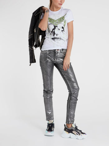 White Studded Skull T-Shirt