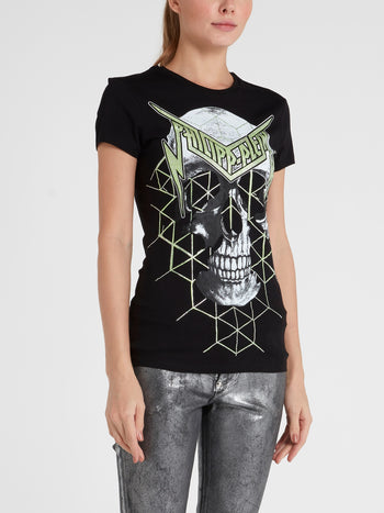 Black Studded Skull T-Shirt