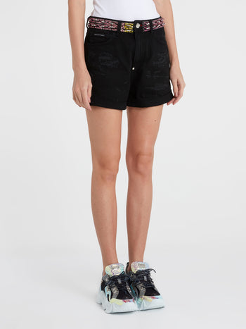 Black Crystal Detail Distressed Shorts
