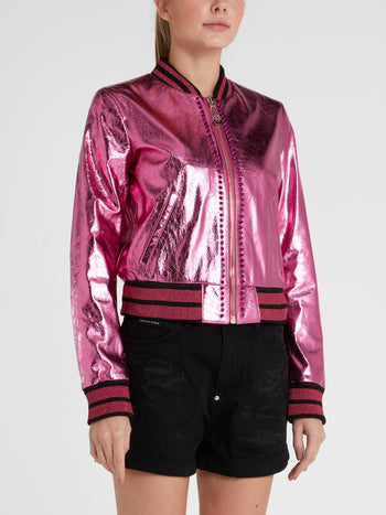 Pink Embellished Leather Bomber Jacket
