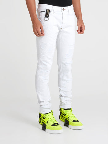 White Distressed Straight Cut Jeans
