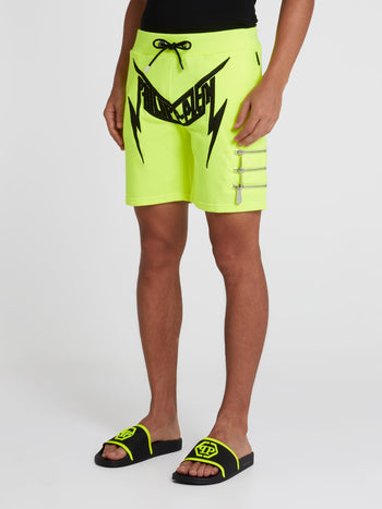 Neon Zipper Detail Active Shorts