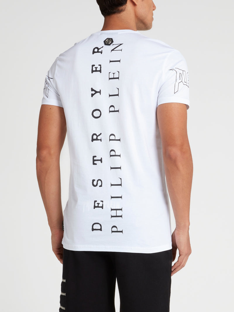 White Studded Graphic T-Shirt