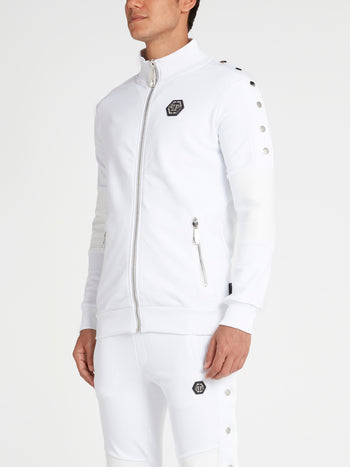 White Zip-Up Track Jacket