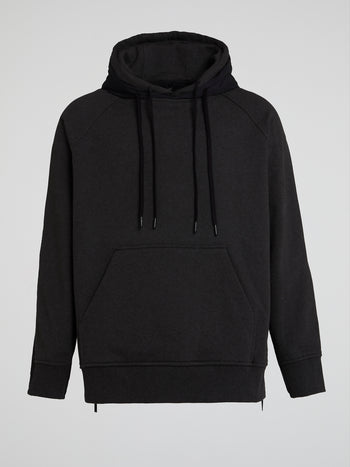 Black Double Fabric Hoodie