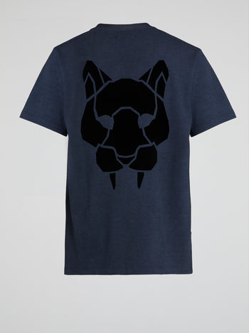 Navy Rear Leopard Print T-Shirt