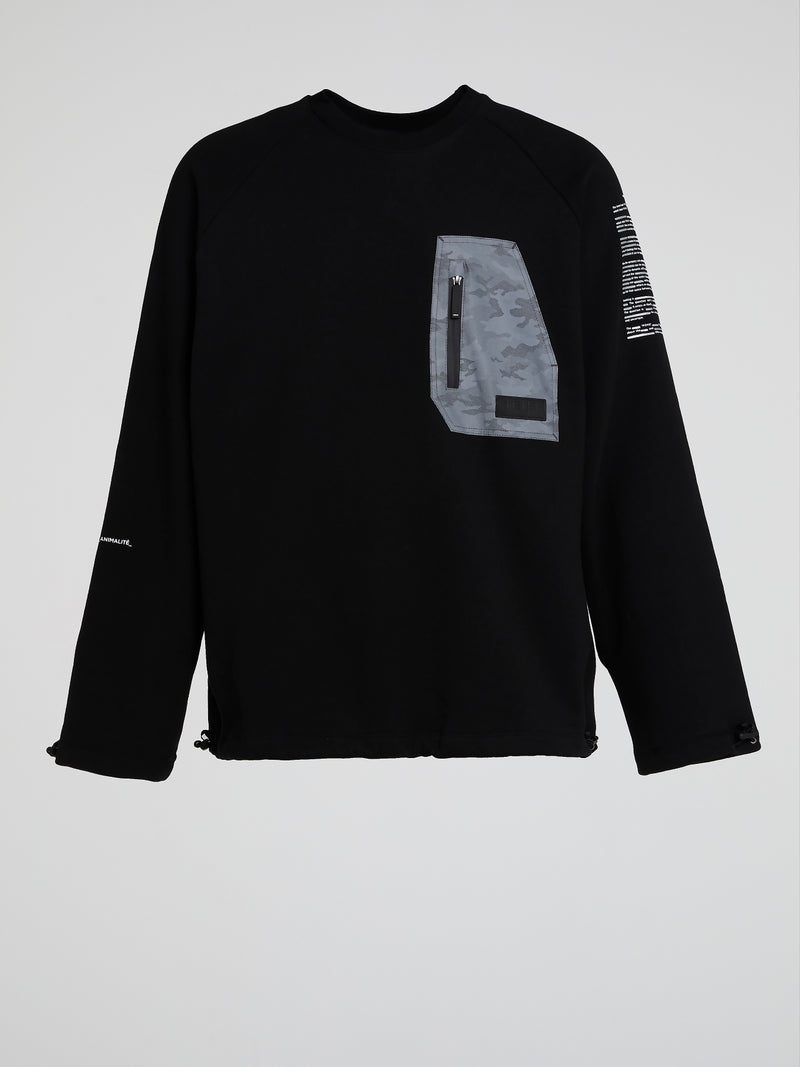 Black Pocket Detail Sweatshirt