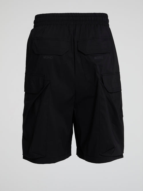 Black Drawstring Cargo Shorts