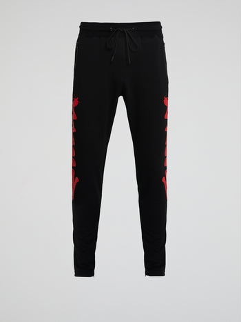 Charlie Brown Graffiti Stripe Black Track Pants