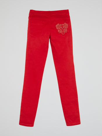 Red Slim Fit Jeans