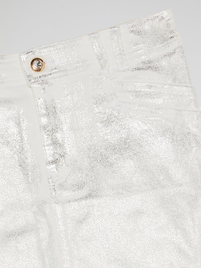 White Metallic Mini Skirt