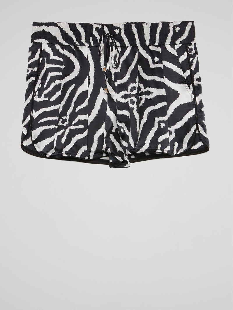 Animal Print Pleated Shorts