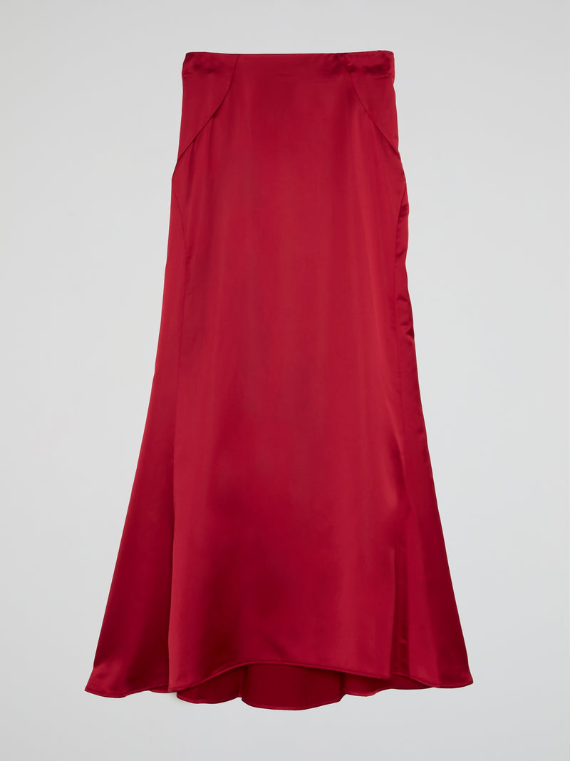 Red Godet Maxi Skirts