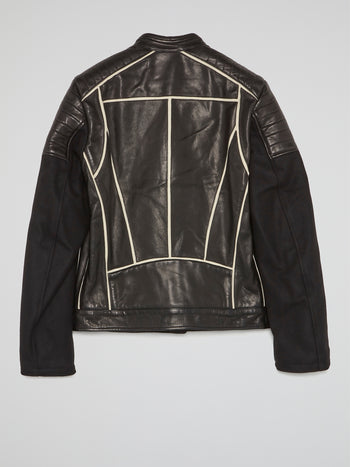 Contrast Lining Leather Jacket