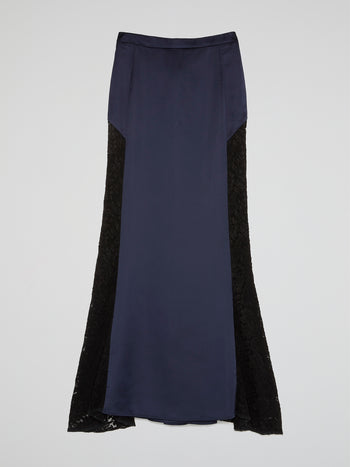 Navy Lace Panel Flared Maxi Skirt