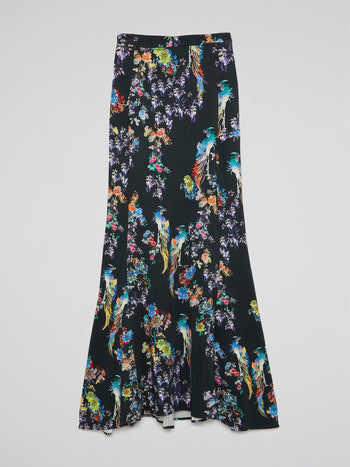 Floral Print Flared Maxi Skirt