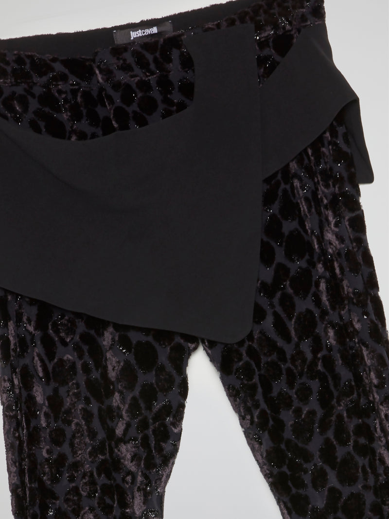 Black Animal Print Glittered Pants
