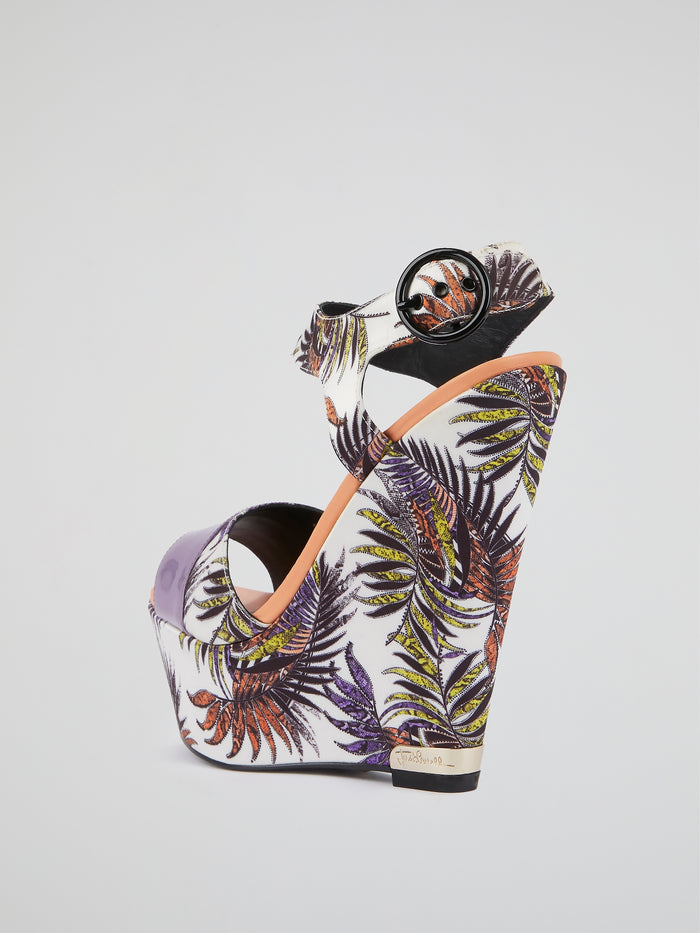 Palm Leaf Print Wedges