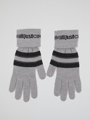 Grey Striped Knitted Gloves