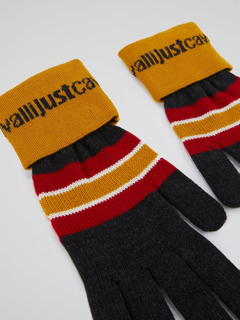 Colour Block Striped Knitted Gloves