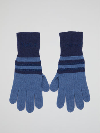Blue Striped Knitted Gloves