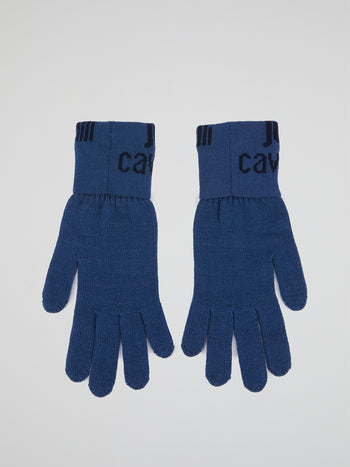 Blue Logo Knitted Gloves