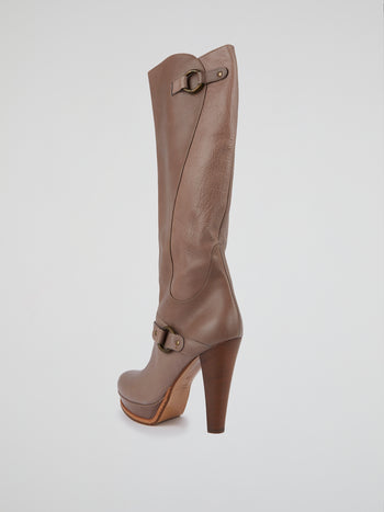 Brown Knee-Length Leather Boots
