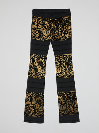 Baroque Print Bootcut Trousers
